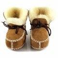Novos Sapatos de Bebê Crianças Botas de Inverno Quente Sapatos De Pele de Lã meninas Do Bebê Botas de Pele De Carneiro Genuína Botas De Pele De Couro Do Bebê Menino recém-nascidos