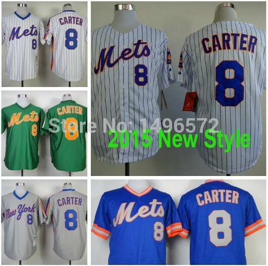 premium selection b0165 bd413 US $23.88 |2015 New York Mets Jerseys 8 Gary Carter Shirts White Strips  Grey Blue Cool Stitched Authentic Baseball Jersey Embroidery Logo-in  Baseball ...