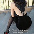 le palais vintage summer women vintage 50s black velvet halter wiggle pencil dress sexy bow patch pinup vestido plus size jurken