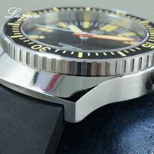 Image 5 - Lugyou San Martin винтажные автоматические механические мужские часы для дайвинга 20 ATM вращающийся ободок Sunray синий резиновый ремешок сапфир SLN C3