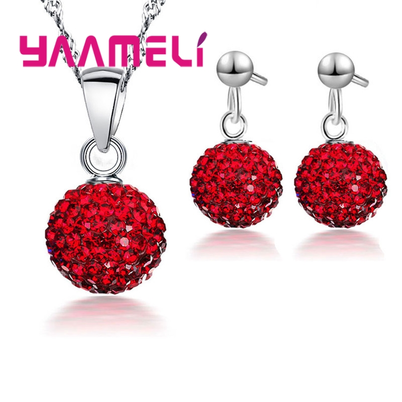 Earring Pendant Necklace Pave Rhinstone Disco Ball 925 Silver Jewelry For Women Dress Party Valentine's Day Gift