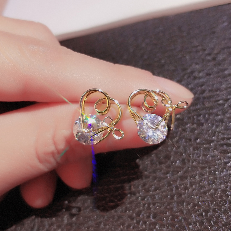 gold color stud earrings with zircon stone (4)