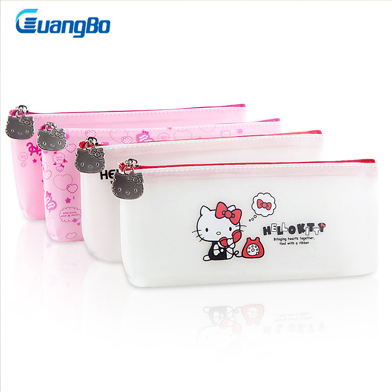 GUANGBO Multi Function Pencil Bag PU Soft Pencil Case Cute Hello Kitty Pencil Bags Large Capacity School Supply Gift Stationery canvas multi layer function camouflage creative simple large capacity pencil case oxford school stationery bag with gift