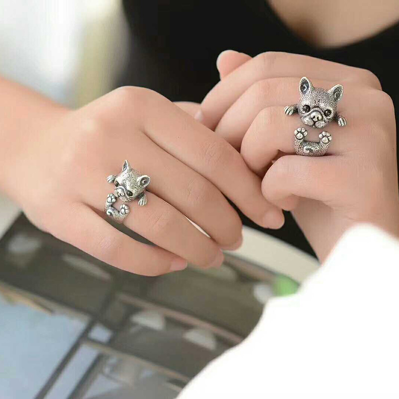 Amicable Wholesale Trendy Vintage Adjustable French Bulldog Ring High Quality Brand Designer Men Wrap Rings Women Animal Jewelry