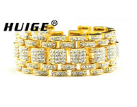 Hip Hop Bling Bracelet Gold Tone Iced Out Rappers Style Bracelet For Men