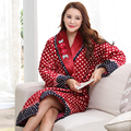 Winter Nightgown Coral Fleece Cotton-padded Women Robes Elegant Female Bathrobe Quilted Pajamas Mujer Thick Robe Shower Homewear