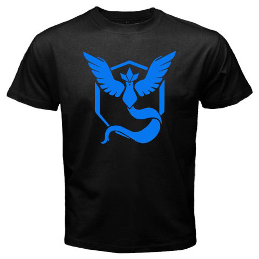 New Pokemon Go Team Mystic Pokemon Trainer Mens Black T-Shirt Size S to 3XL