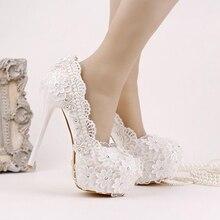 2016 New Style Ultra High Heel Formal Shoes Beautiful Satin Flower Bridesmaid ShoesWhite Lace Chiffon Bridal Shoes Platform
