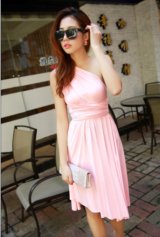 dbbe7f4723e13 Women Korean club Variety more worn sexy Bra wrapped chest halter dress  swing open infinity dress convertible dress tunique-in Dresses from Women s  Clothing ...