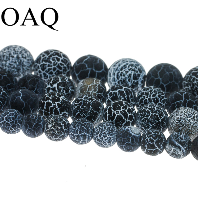 4-14mm Black Onyx Beads Natural Stone Beads Carnelian Dull Polish Fire Dragon Polish Veins Beads For Jewelry Making Wholesale