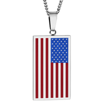 Classic US Flag Necklaces Pendants 4Colors Stainless Steel USA American Chain For Men Women Gift Hot