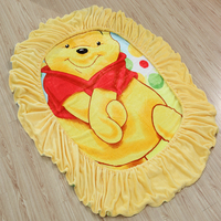 Disney Winnie Flannel Fitted Sheet with an Elastic Band Bed Sheets Linen Bedspread Polyester Mattress Cover Single Twin Full