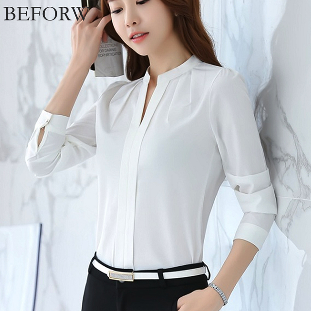 BEFORW женщины шифон блузка лето мода рубашки женские Белый Розовый блузка женская Женская одежда топ рубашки сексуальный V шеи костюм женский бизнес офис топы рубашка женская
