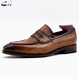 Image 2 - cie square toe patina hand painted calf leather bespoke leather men shoe handmade calf leather breathable mens boat loafer LO05