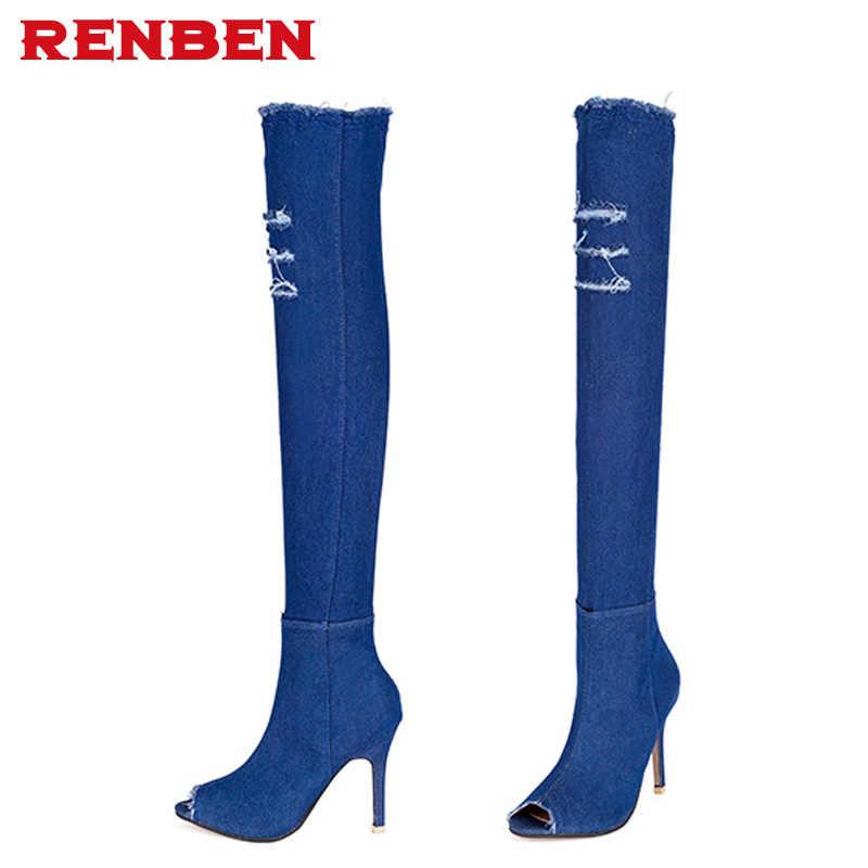 2018 כחול ג 'ינס מגפיים מעל הברך מגפיים גבוהים ירך קיץ מגפיים גבוהים הברך לנשים עקבים גבוהים ציצית נעלי נשים ג' ינס אתחול