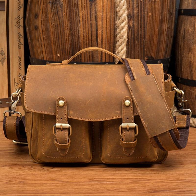 Для мужчин из натуральной кожи Кроссбоди мешок Для мужчин сумка-мессенджер Профессиональный Камера сумка Цифровой Камера цифровых зеркаль…