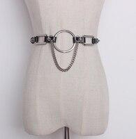 Nieuwe Harajuku Mode Metalen Ketting Lederen Verstelbare Riem Vrouwen Ketting Twee Manieren Dragen