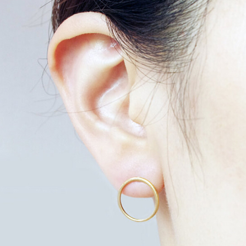 charm rose plated open stud earrings gold circle