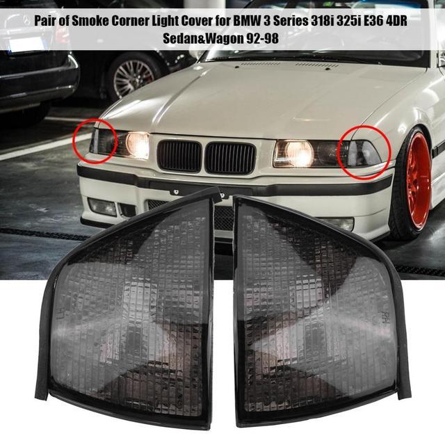 1 Pair Car Turn Signal Light Cover Corner Warning Light Shell Smoke For Bmw 3 Series 318i 325i E36 4dr Sedan Wagon 1992 1998