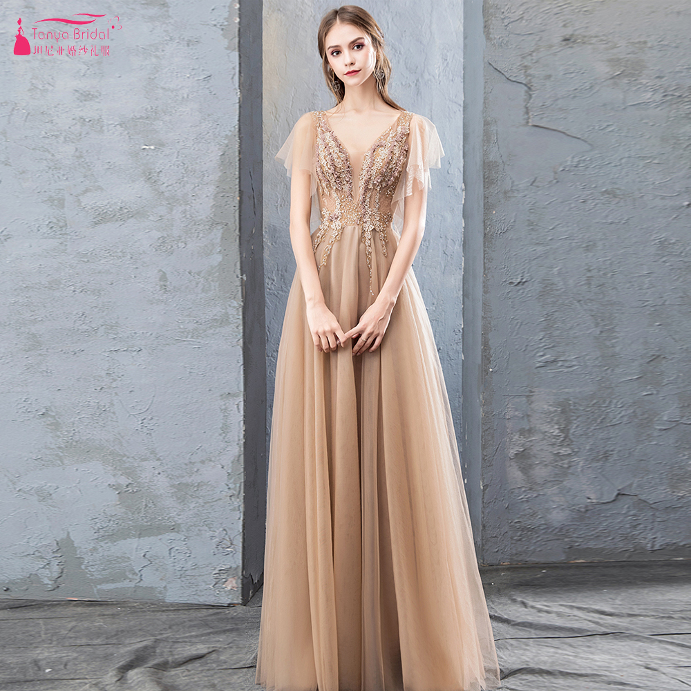 Gold Tulle Long Evening Dresses Deep V Neck Special Elegant Prom Gowns Women Formal Night wear