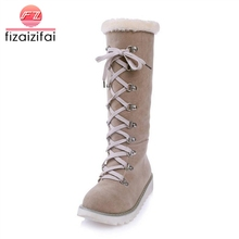 Купить с кэшбэком fizaizifai Vintage Women Knee Snow Boots Lace Up Rivet Thick Fur Shoes Women Winter Flats Boots Plush Warm Lady Shoes Size 34-43