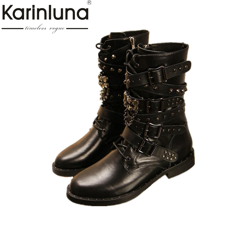 KARINLUNA 2017 Big Size 34-43 Cowboy Boots Rivets Buckle Square Heels Genuine Leather Inside Pig Skin Or Short Plush Woman Shoes wisted x boots cowboy boots only size 11 left eur size 42 knight boots tassel short boots