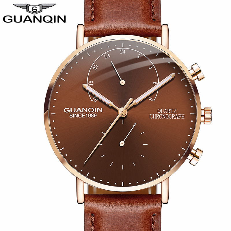 relogio masculino GUANQIN Brand Luxury Watches Men Fashion Creative Chronograph Luminous Analog Retro Leather Strap Quartz Watch new guanqin luxury fashion casual quartz watch men sports watches luminous analog leather strap wristwatch relogio masculino