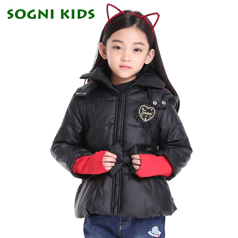 Girls Winter Down Jacket 2016 Brand Child Red Black hooded coat long sleeve cuff Patchwork Bow