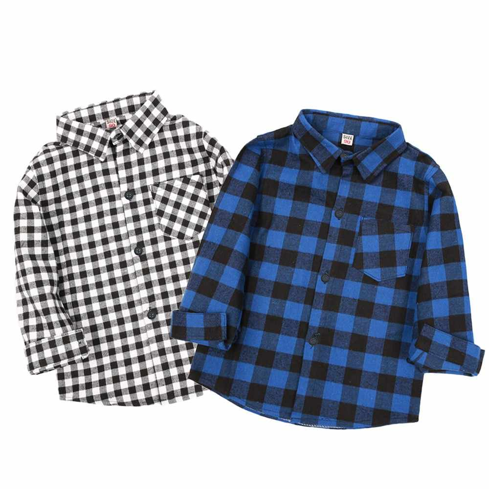 Kids Boys Girls Long Sleeve Solid  Plaid Tops Blouse Clothes Gentleman Baby Tops Baby Girl Shirt Blusa Infantil