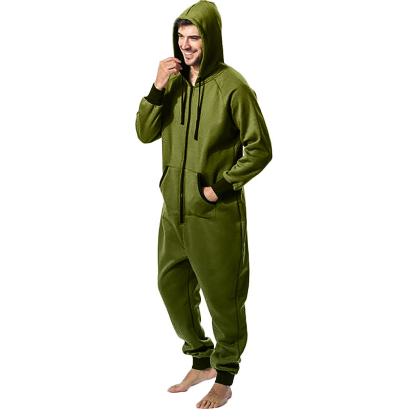 Men Zipper Onesie Autumn Thicken Fleece Hooded Jumpsuit Streetwear Jumpsuit Hoodies Winter One-piece Overalls X9121