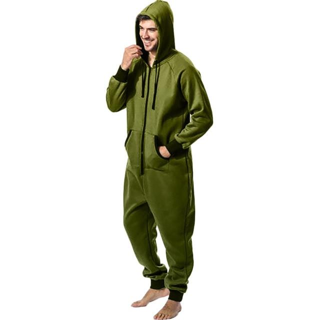 Men Zipper Onesie Autumn Thicken Fleece Hooded Jumpsuit Streetwear Jumpsuit Hoodies Winter One-piece Overalls X9121 1