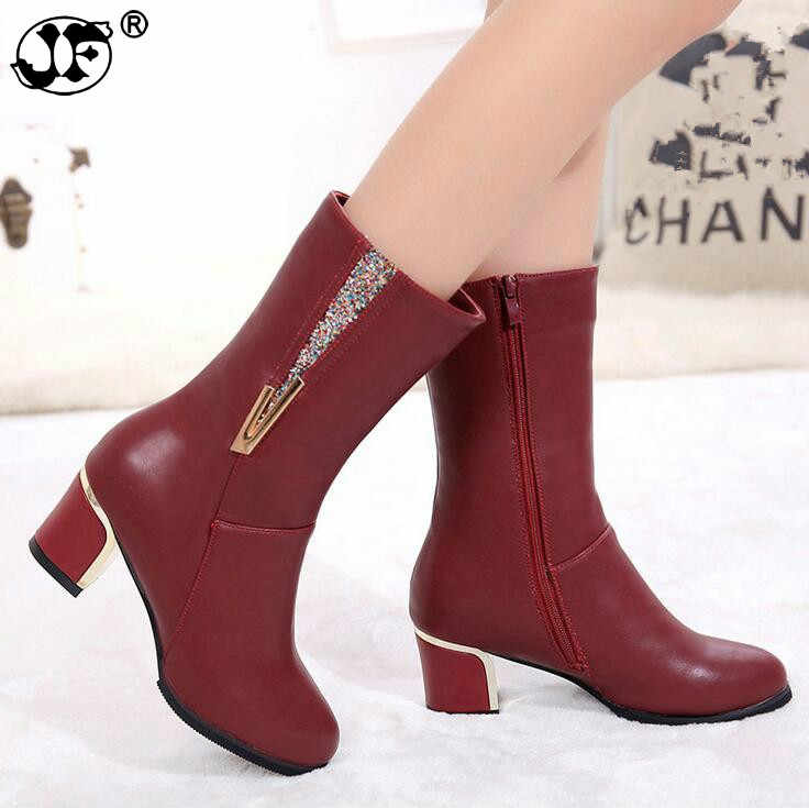 Warm Women Snow Boots PU Leathe high heels Winter Shoes woman Mid-Calf Boots Female Fashion Boots zipper Casual Boots mujer