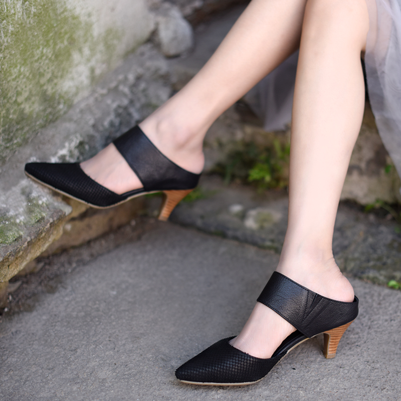 Sandales gray Porter Artmu Talons Et Main Pointu Chaussures Black De Haute L'extérieur Pantoufles Cuir D'origine Nouvelle Européenne Américaine Femmes À Véritable 9EYWIDH2