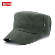 UNIKEVOW  solid cotton Army Cap Washed Flat top Hat for men Military cap with fashion logo Sport breathable