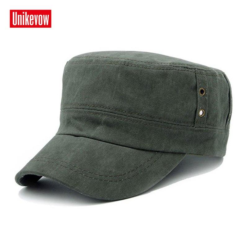 Stil; Original Unikevow Solide Baumwolle Armee Kappe Gewaschen Flachen Hut Für Männer Military Cap Mit Fashion Logo Sport Atmungsaktive Mütze Modischer In