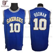 BONJEAN Cheap OKLAHOMA SAVAGES College Basketball Jerseys 10 Dennis Rodman Jersey Blue Mens Stitched Shirts