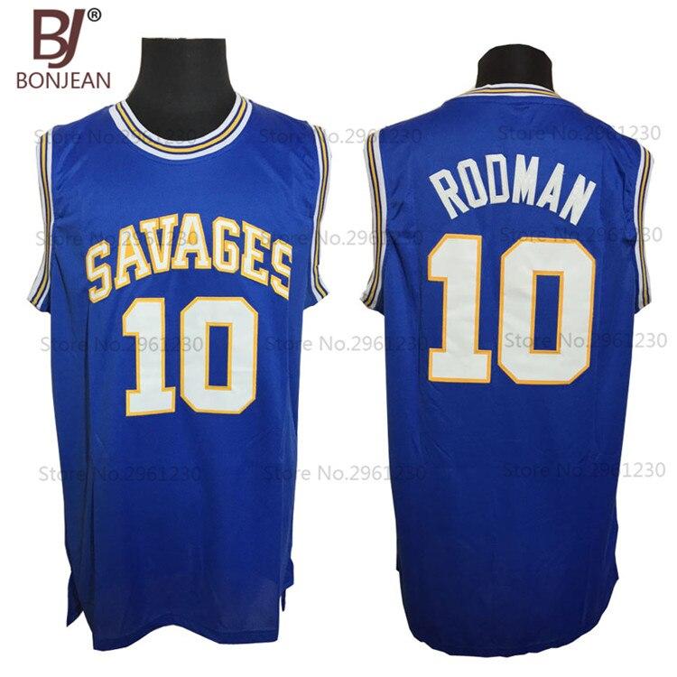 BONJEAN Cheap OKLAHOMA SAVAGES College Basketball Jerseys 10 Dennis Rodman Jersey Blue font b Mens b