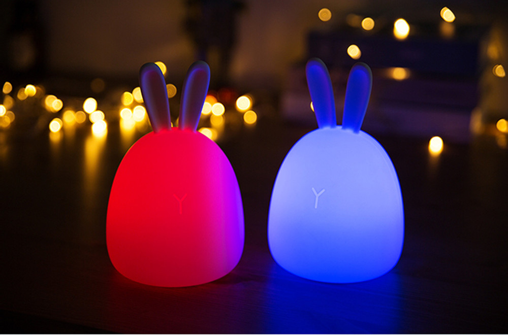 SuperNight Rabbit LED Night Light Vibration Touch Sensor Colorful USB Silicone Bunny Bedside Table Lamp for Children Kids Baby (6)