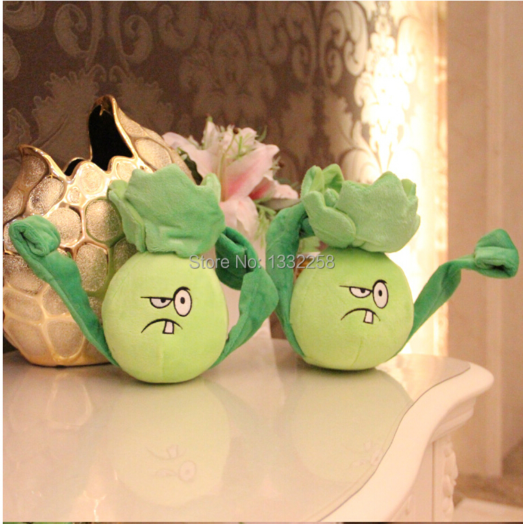 Free Shipping 18cm High quality PP Cotton Plants vs Zombies In Boxing cabbage , Lovely Plush Toys