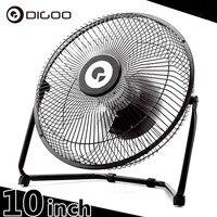Digoo DF-101 10 дюймов большой полный черный металл электрические поворотный USB перезаряжаемые 18650 батарея Прохладный Настольный веер