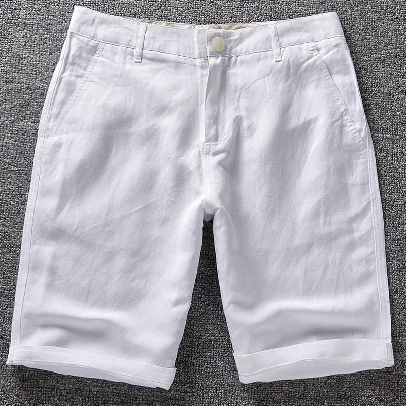 Nueva marca de moda para hombre pantalones cortos casuales pantalones cortos blancos sólidos hombres de lino de algodón para hombre pantalones cortos de verano 38 tamaño 6 colores Bermuda Masculina