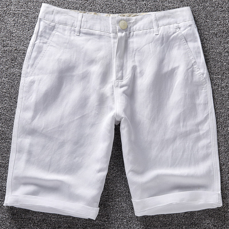 Fashion Brand Men' Casual Shorts White Solid Men Linen Cotton Mens Summer 38