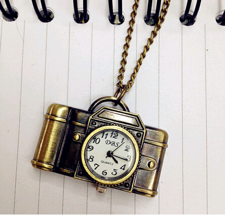 YCYS Vintage Antique Bronze Alloy Pocket Camera & Sewing Machines Design Quartz Watch Pendant With Chain Unisex Dress Watch