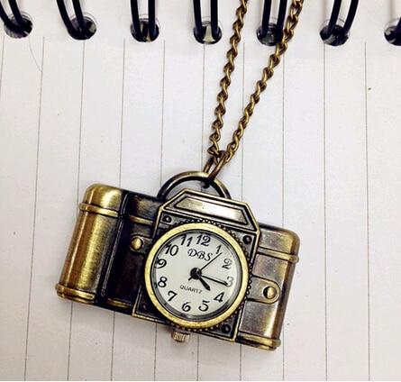 YCYS Vintage Antique Bronze Alloy Pocket Camera & Sewing Machines Design Quartz Watch Pendant With Chain Unisex Dress Watch