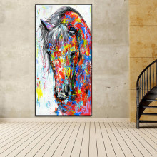 AAVV Oil Painting Posters Running Horse Canvas Painting Wall Art Picture Canvas Wall Pictures for Living Room No Frame(China)