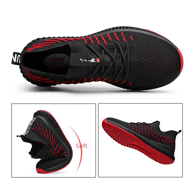 new style 68bad 9384e SUROM transpirable zapatillas de deporte de malla negro de los hombres de  Tenis Masculino Adulto zapatos