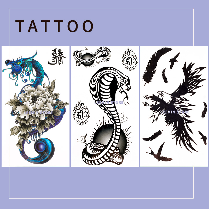 17 Lnymio temporary tattoo pretty flower large size pink and blue body art tattoo sticker 4