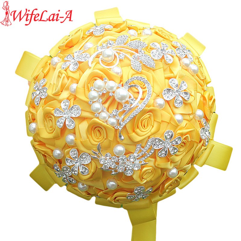 WifeLai A Factory Selling Gold Yellow Wedding Bouquets Diamond Brooch Bride Flowers de noiva In Stock