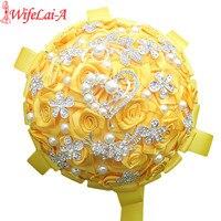 WifeLai A Factory Selling Gold Yellow Wedding Bouquets Diamond Brooch Bride Flowers de noiva In Stock Best Quality W125