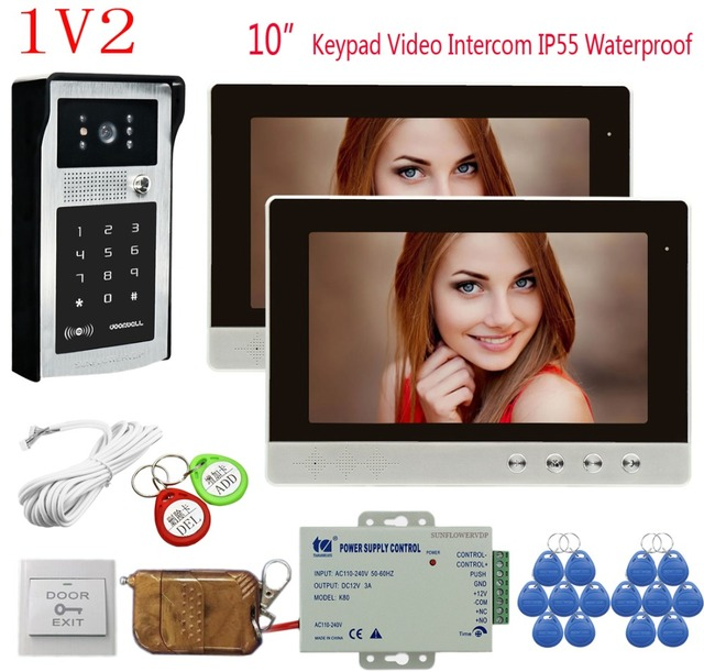 "Video Intercom Door Video Bell  2 Units 10"" Color Monitor Rfid Keyboard Door Intercom With Camera Home Phone+Remote Control 1v2"
